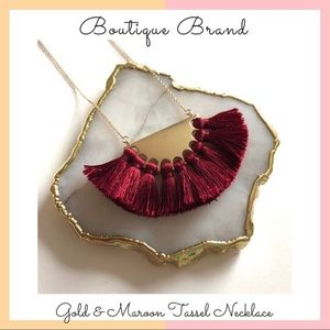 Good & Maroon Tassel Necklace